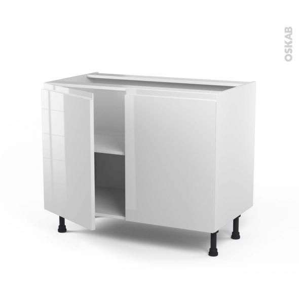 Meuble de cuisine - Bas - IPOMA Blanc brillant - 2 portes - L100 x H70 x P58 cm
