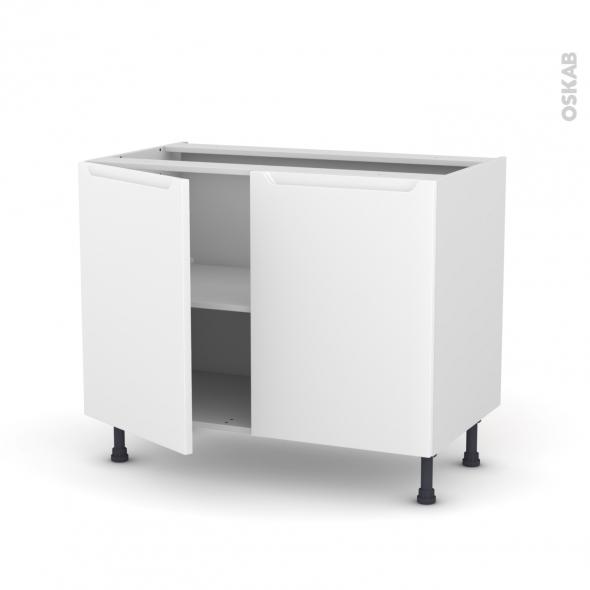 Meuble de cuisine - Bas - PIMA Blanc - 2 portes - L100 x H70 x P58 cm