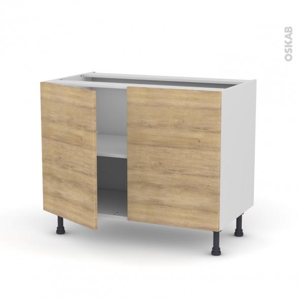HOSTA Chêne naturel - Meuble bas cuisine  - 2 portes - L100xH70xP58