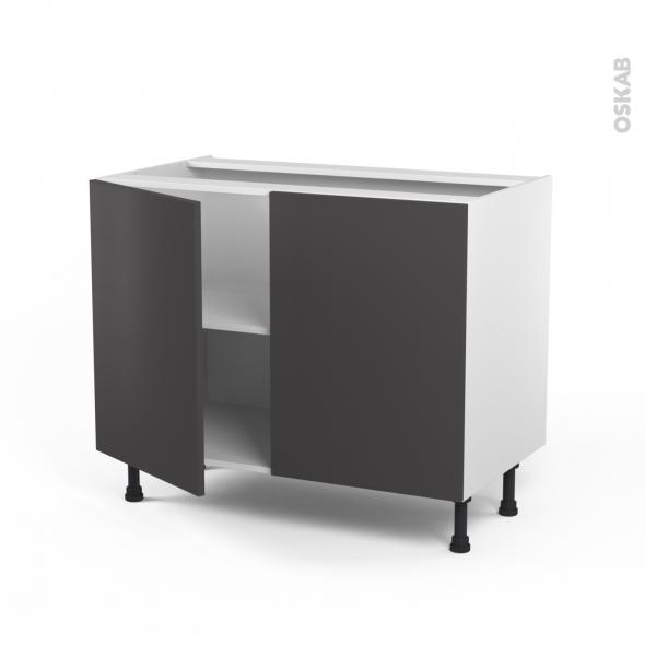 Meuble de cuisine - Bas - GINKO Gris - 2 portes - L100 x H70 x P58 cm