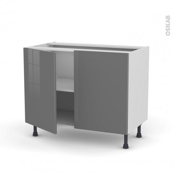 Meuble de cuisine - Bas - STECIA Gris - 2 portes - L100 x H70 x P58 cm