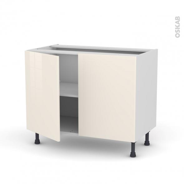 Meuble de cuisine - Bas - KERIA Ivoire - 2 portes - L100 x H70 x P58 cm