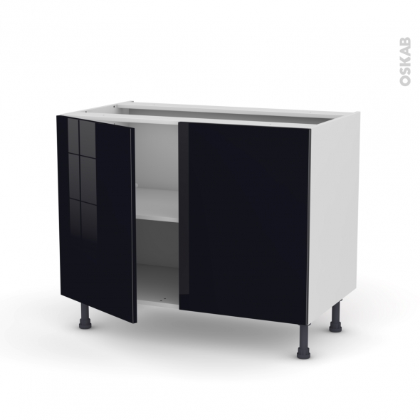KERIA Noir - Meuble bas cuisine  - 2 portes - L100xH70xP58