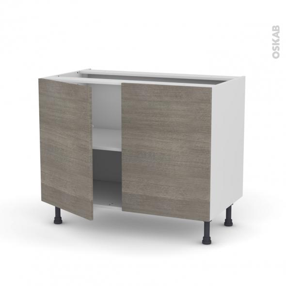 STILO Noyer Naturel - Meuble bas cuisine  - 2 portes - L100xH70xP58