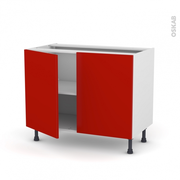 GINKO Rouge - Meuble bas cuisine  - 2 portes - L100xH70xP58