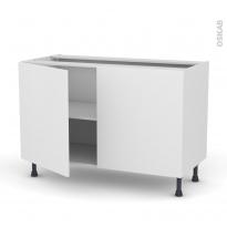 Meuble de cuisine - Bas - GINKO Blanc - 2 portes - L120 x H70 x P58 cm