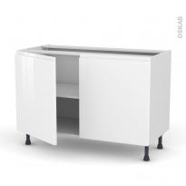 Meuble de cuisine - Bas - IPOMA Blanc - 2 portes - L120 x H70 x P58 cm