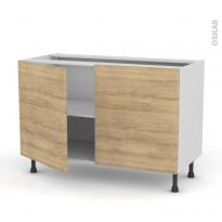 Meuble de cuisine - Bas - HOSTA Chêne naturel - 2 portes - L120 x H70 x P58 cm