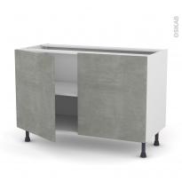 Meuble de cuisine - Bas - FAKTO Béton - 2 portes - L120 x H70 x P58 cm