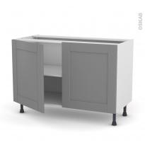 Meuble de cuisine - Bas - FILIPEN Gris - 2 portes - L120 x H70 x P58 cm