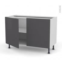 Meuble de cuisine - Bas - GINKO Gris - 2 portes - L120 x H70 x P58 cm