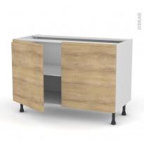 Meuble de cuisine - Bas - IPOMA Chêne naturel - 2 portes - L120 x H70 x P58 cm