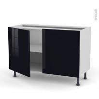 Meuble de cuisine - Bas - KERIA Noir - 2 portes - L120 x H70 x P58 cm