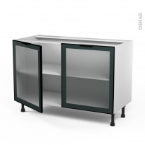 Meuble de cuisine - Bas vitré - Façade noire alu - 2 portes - L120 x H70 x P58 cm - SOKLEO
