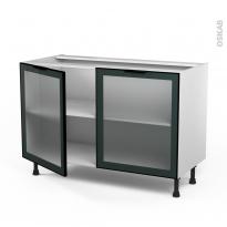 SOKLEO - Meuble bas cuisine - Façade noire alu vitrée  - 2 portes - L120xH70xP58