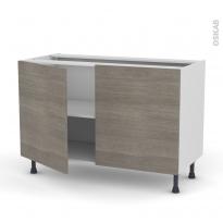 Meuble de cuisine - Bas - STILO Noyer Naturel - 2 portes - L120 x H70 x P58 cm
