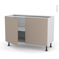 Meuble de cuisine - Bas - GINKO Taupe - 2 portes - L120 x H70 x P58 cm