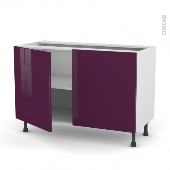 Meuble de cuisine - Bas - KERIA Aubergine - 2 portes - L120 x H70 x P58 cm