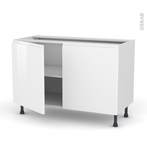 IPOMA Blanc - Meuble bas cuisine  - 2 portes - L120xH70xP58