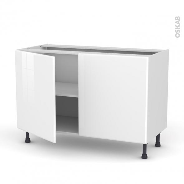 Meuble de cuisine - Bas - IRIS Blanc - 2 portes - L120 x H70 x P58 cm