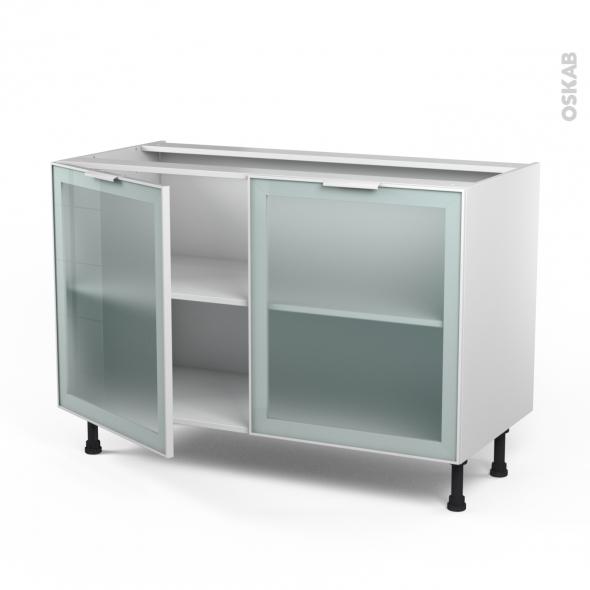 Meuble de cuisine - Bas vitré - Façade blanche alu - 2 portes - L120 x H70 x P58 cm - SOKLEO