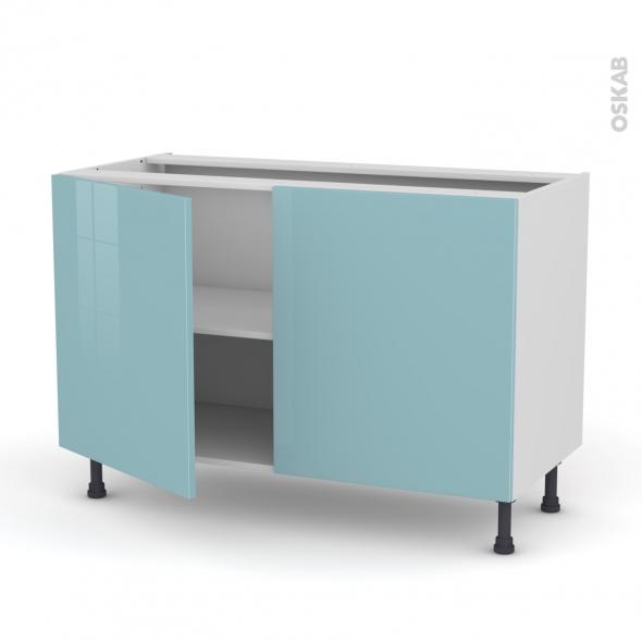 Meuble de cuisine - Bas - KERIA Bleu - 2 portes - L120 x H70 x P58 cm