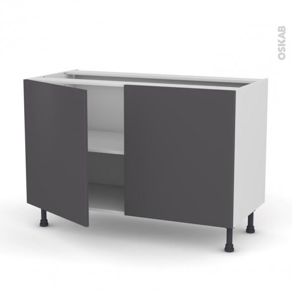 GINKO Gris - Meuble bas cuisine  - 2 portes - L120xH70xP58