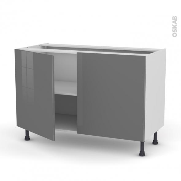 Meuble de cuisine - Bas - STECIA Gris - 2 portes - L120 x H70 x P58 cm
