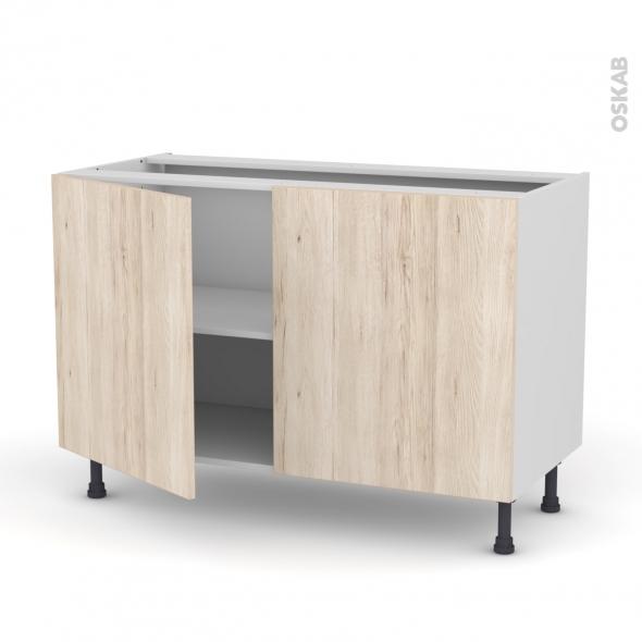 Meuble de cuisine - Bas - IKORO Chêne clair - 2 portes - L120 x H70 x P58 cm