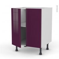 Meuble de cuisine - Bas - KERIA Aubergine - 2 portes - L60 x H70 x P58 cm