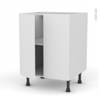 Meuble de cuisine - Bas - GINKO Blanc - 2 portes - L60 x H70 x P58 cm