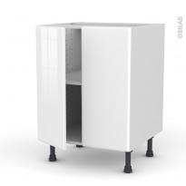Meuble de cuisine - Bas - IRIS Blanc - 2 portes - L60 x H70 x P58 cm