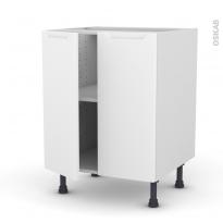 Meuble de cuisine - Bas - PIMA Blanc - 2 portes - L60 x H70 x P58 cm