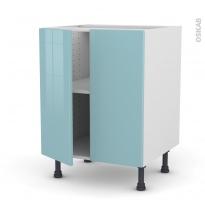 Meuble de cuisine - Bas - KERIA Bleu - 2 portes - L60 x H70 x P58 cm