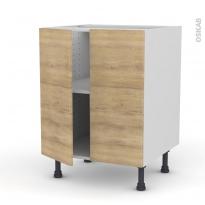Meuble de cuisine - Bas - HOSTA Chêne naturel - 2 portes - L60 x H70 x P58 cm