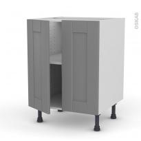 Meuble de cuisine - Bas - FILIPEN Gris - 2 portes - L60 x H70 x P58 cm