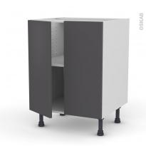 Meuble de cuisine - Bas - GINKO Gris - 2 portes - L60 x H70 x P58 cm