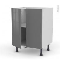 Meuble de cuisine - Bas - STECIA Gris - 2 portes - L60 x H70 x P58 cm