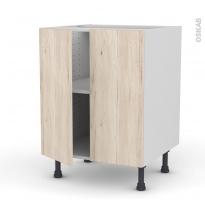 Meuble de cuisine - Bas - IKORO Chêne clair - 2 portes - L60 x H70 x P58 cm
