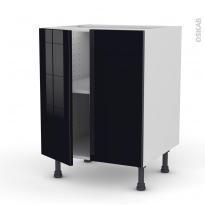 Meuble de cuisine - Bas - KERIA Noir - 2 portes - L60 x H70 x P58 cm