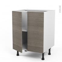 Meuble de cuisine - Bas - STILO Noyer Naturel - 2 portes - L60 x H70 x P58 cm