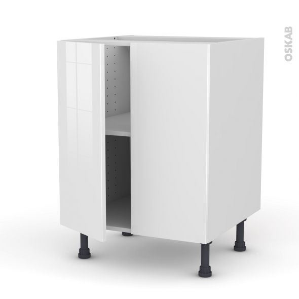 STECIA Blanc - Meuble bas cuisine - 2 portes - L60xH70xP58