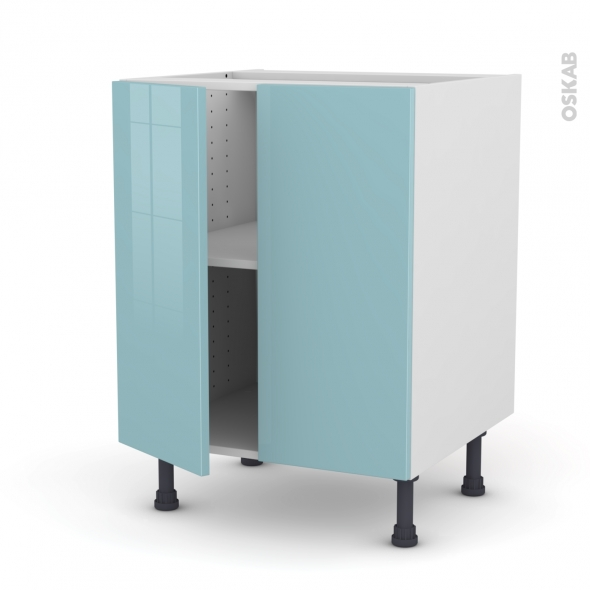 KERIA Bleu - Meuble bas cuisine - 2 portes - L60xH70xP58