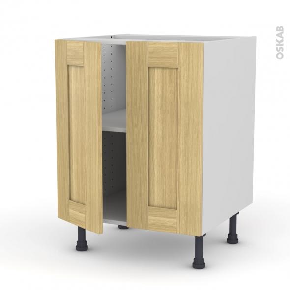 BASILIT Bois Brut - Meuble bas cuisine - 2 portes - L60xH70xP58