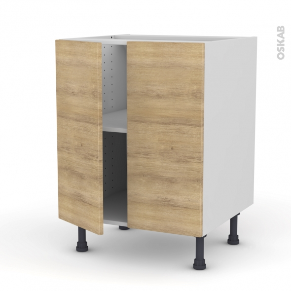 HOSTA Chêne naturel - Meuble bas cuisine - 2 portes - L60xH70xP58
