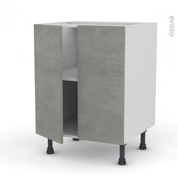 FAKTO Béton - Meuble bas cuisine - 2 portes - L60xH70xP58