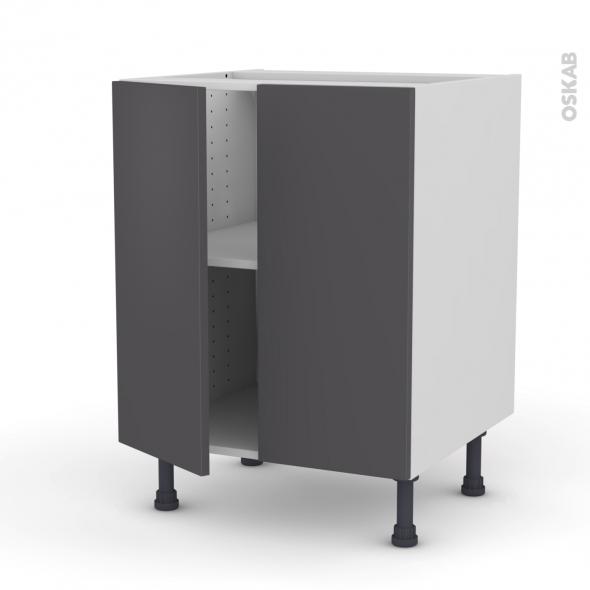 GINKO Gris - Meuble bas cuisine - 2 portes - L60xH70xP58