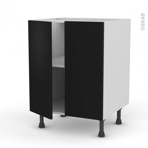 GINKO Noir - Meuble bas cuisine - 2 portes - L60xH70xP58