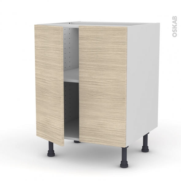 Meuble de cuisine - Bas - STILO Noyer Blanchi - 2 portes - L60 x H70 x P58 cm