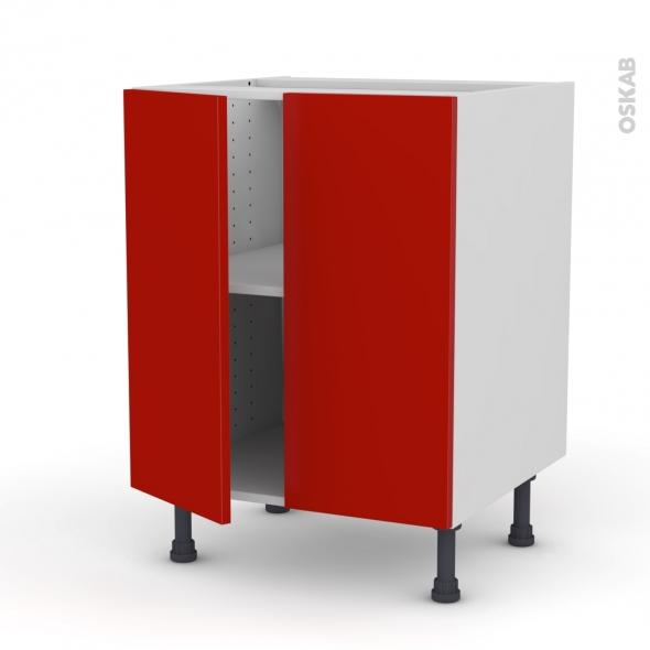 GINKO Rouge - Meuble bas cuisine - 2 portes - L60xH70xP58